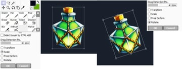 Placing rectangle shaped potion on new canvas