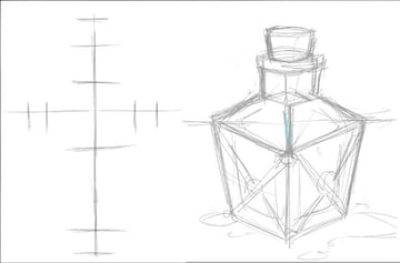 Guidelines and rough sketch for rectangle shaped potion