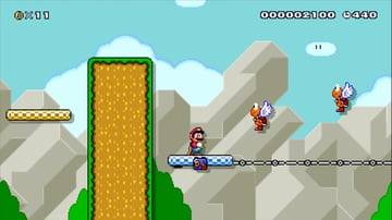 A moving platform with two enemies in a Mario level