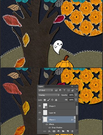 Use blend modes to create a appliqued look
