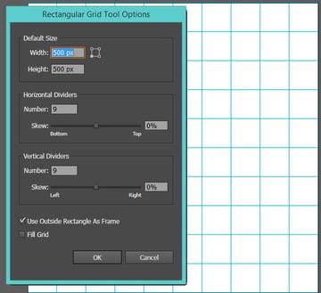 Create a ten by ten grid