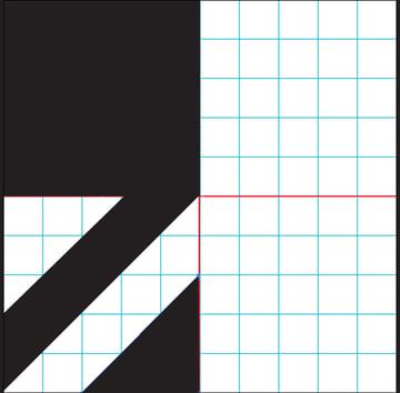 Draw a triangle in the bottom right quadrant
