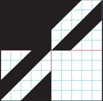 Repeat the diagonal strip and triangle in the upper right corner