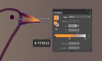 Draw an orange beak