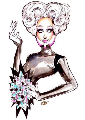 Illustration of Mathu Andersen from the Marco Marco LAFW show