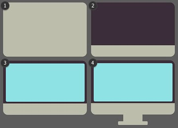Overlap rectangles to create a computer monitor