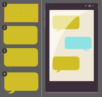 Draw little chat bubbles to add something to the phones screen