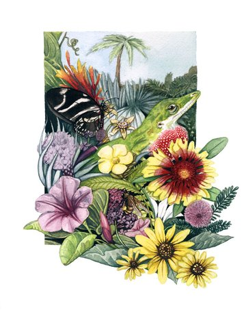A green anole sits at the centerpiece of this watercolor painting
