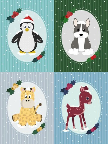 Vintage holiday card designs created by Tessa