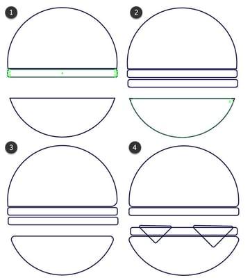 Draw your hamburgers toppings between each bun