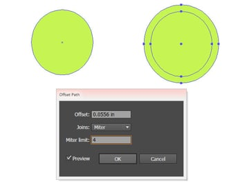 Offset a circle to form a cute pickle