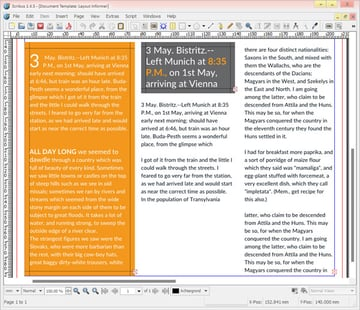 Scribus interface and layout templates