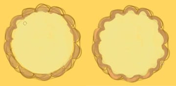 Fill the tart in with yellow and tan