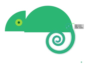 Use the width tool to widen the chameleons tail