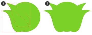 Place the warped leaves on either side of a large circle