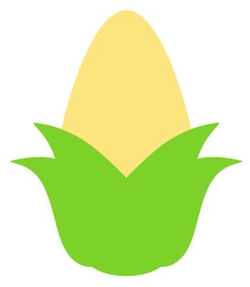 Draw a light yellow tear drop for the corn cob