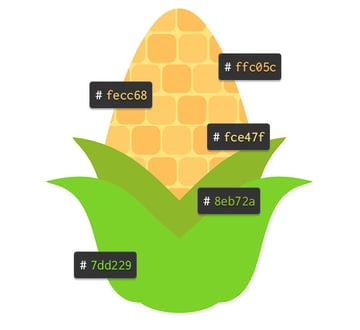 Review the colors used in the corn design