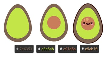 Draw your avocado components and group it all together