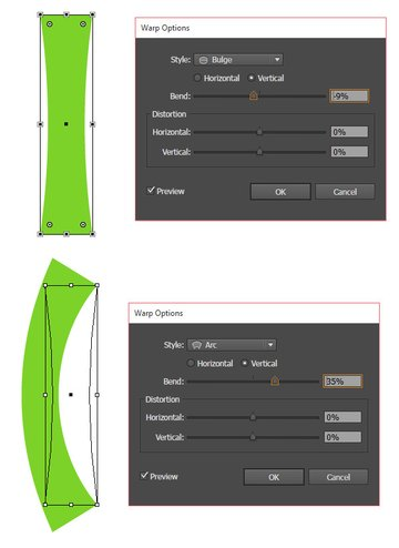Warp a rectangle to get the basic stem shape