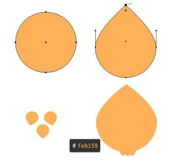 Four little teardrops create a cute onion