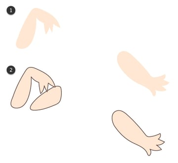 Draw each arm in sections
