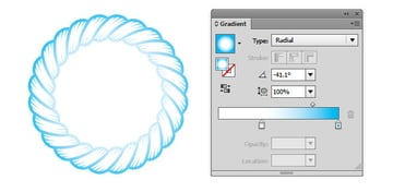 Apply a radial gradient to an expanded object