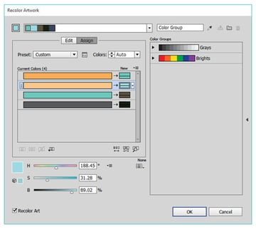 Use the recolor artwork to quickly and easily change colors in complex artwork