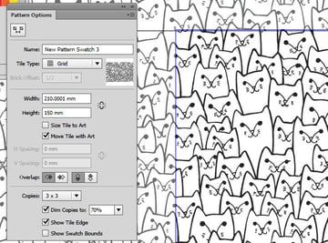 Edit patterns from the pattern options panel