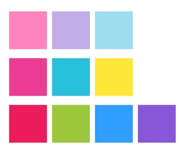 Three examples of cute limited color palettes