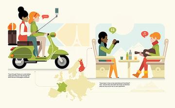 Euro travel illustration
