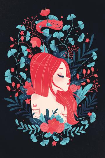 Redhead lady and Catfish postcard