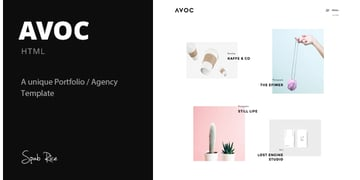 Avoc - Minimal Portfolio Agency Template