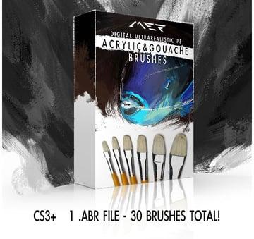 Gouache Acrylic Photoshop Brushes