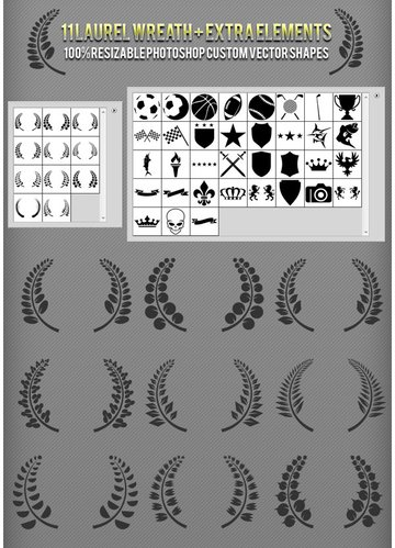 Laurel Wreath Photoshop Custom Shapes