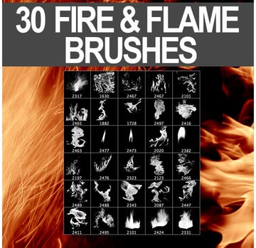30 Fire Flame Brushes