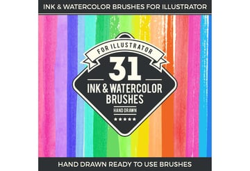 31 Ink and Watercolor Brushes