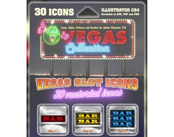 Vegas Slot Icons Collection 30 vectorial icons