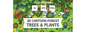2D Cartoon Forest Trees Plants