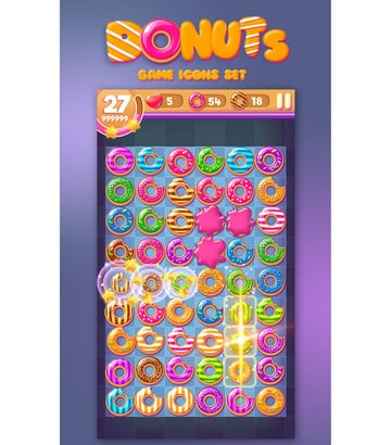 Donut Game Icons Set