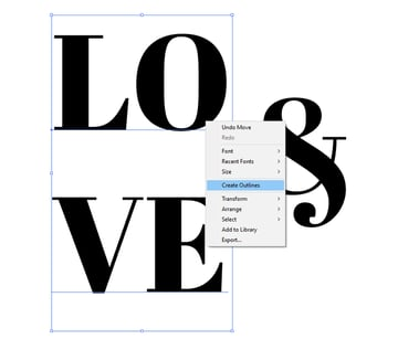 Expand under Object your type or Create Outlines