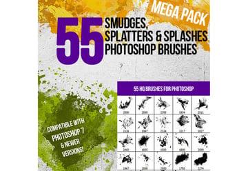 55 Splatters Smudges Splashes Photoshop Brushes