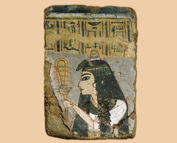 Egyptian Wall Painting Woman Holding a Sistrum