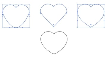 Finish your heart from simple compound shapes.