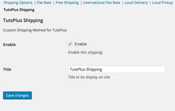 The TutsPlus Shipping Options Screen