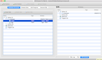 DB Browser for SQLite Database Structure screen