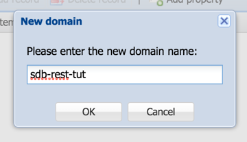 Entering the name of the new domain