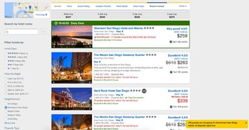 Expedia search results with multiple triggers