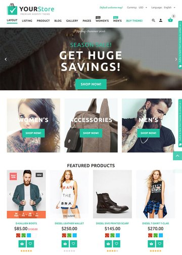Yourstore 2016 Stylish Shopify Template Design