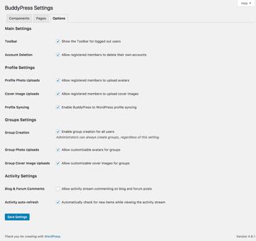 Additional BuddyPress settings