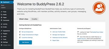 BuddyPress welcome screen